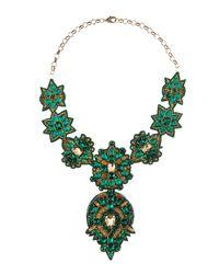 Deepa Gurnani - Green Elbert Golden Bib Necklace Emerald - Lyst