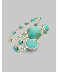 Ippolita - Metallic Rock Candy Turquoise & 18K Yellow Gold Station Bangle Bracelet - Lyst
