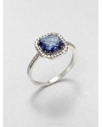 KALAN by Suzanne Kalan | English Blue Topaz, White Sapphire & 14K White Gold Cushion Ring | Lyst