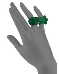 Kara Ross - Green Malachite Fish Double Knuckle Ring - Lyst