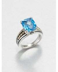 Lagos | Metallic Blue Topaz Sterling Silver and 18k Yellow Gold Ring | Lyst