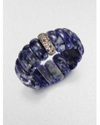 M.c.l  Matthew Campbell Laurenza | Blue Multicolored Sapphire & Lapis Beaded Stretchbracelet | Lyst