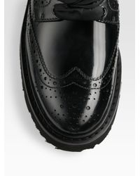 Prada | Black Spazzolato Lace-up Wing Tip Oxfords | Lyst