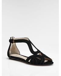 Prada | Black Suede Flat Sandals | Lyst