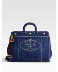 Prada | Blue Logo Denim Top Handle Bag | Lyst