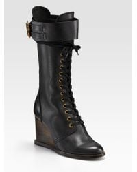 See By Chloé | Black Lace-up Wedge Tall Boots | Lyst