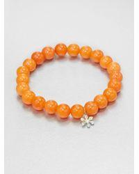 Sydney Evan | Orange Diamond 14k Gold Peach Rose Jade Beaded Stretch Bracelet | Lyst