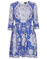 TOPSHOP | China Blue Lace Skater Dress | Lyst