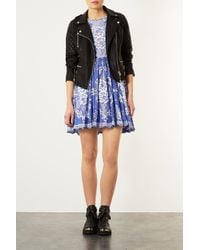 TOPSHOP - China Blue Lace Skater Dress - Lyst