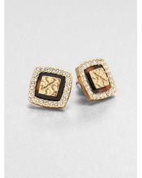 Tory Burch - Metallic Mccoy Crystal Logo Button Earrings - Lyst