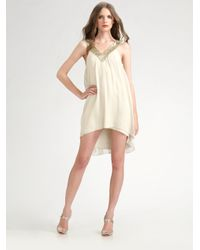 Alice + Olivia | Natural Marilyn Sequined Silk Dress | Lyst