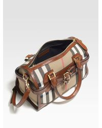 Burberry | Brown Large Check Satchel | Lyst