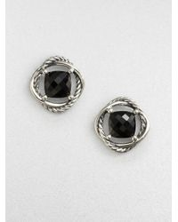David Yurman - Faceted Sterling Silver Button Earringsblack Onyx - Lyst