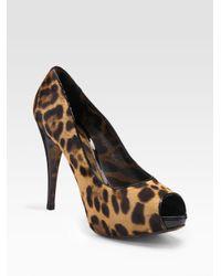 Dolce & Gabbana | Multicolor Pony Hair Peep-Toe Pumps | Lyst