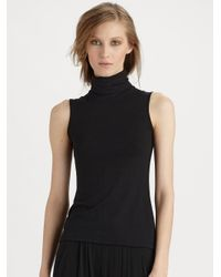 01e8c4ea0f4d1 Lyst - Donna Karan Sleeveless Turtleneck Top in Black