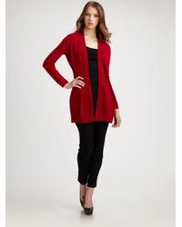 Eileen Fisher - Red Merino Wool Cardigan - Lyst
