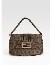 Fendi | Brown Mia Zucca Flap Bag | Lyst