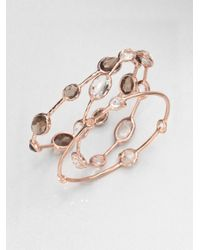 Ippolita - Metallic Rose Rock Candy Smoky Quartz Eight-Stone Bangle Bracelet - Lyst