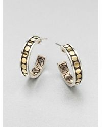 John Hardy - Metallic 18k Gold Sterling Silver Dot Hoop Earrings - Lyst