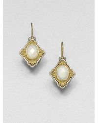 Konstantino | Metallic Selene Mother-of-pearl, 18k Yellow Gold & Sterling Silver Drop Earrings | Lyst