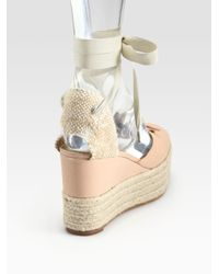 Marc Jacobs - Natural Mouse Lace-up Leather Espadrille Wedge Sandals - Lyst