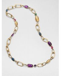 Marco Bicego | Multicolor Murano Semi-precious Multi-stone & 18k Yellow Gold Long Link Necklace | Lyst