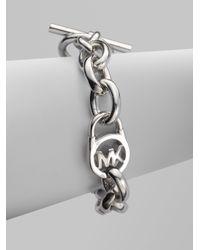 Michael Kors - Metallic Heritage Fulton Padlock Station Toggle Bracelet/silvertone - Lyst