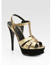 Saint Laurent | Metallic Tribute Python Sandal 105 | Lyst