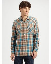 True Religion - Blue Rocky Plaid Western Shirt for Men - Lyst