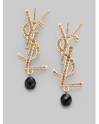 Saint Laurent | Black Glitter Logo Earrings | Lyst