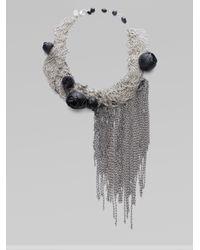 Alice + Olivia | Metallic Rose Draped Mesh Chain Bib Necklace | Lyst