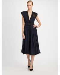 Donna Karan - Black Belted Silk Dress - Lyst