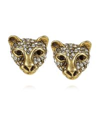 Elizabeth Cole | Metallic 24karat Goldplated Swarovski Crystal Jaguar Earrings | Lyst