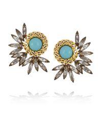 Elizabeth Cole | Metallic Mohawk Goldplated Swarovski Crystal Earrings | Lyst