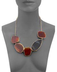 Isharya - Brown Druzy Multistone Bib Necklace - Lyst