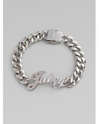 Juicy Couture | Metallic Signature Script Id Bracelet | Lyst