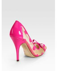 Kate Spade | Black Polkadot Patent Leather Mesh and Velour Point Toe Pumps | Lyst