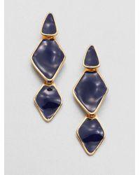 Kenneth Jay Lane - Blue Enamel Diamondshaped Drop Earrings - Lyst
