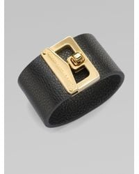 Marc By Marc Jacobs | Black Turnlock Leather Cuff Bracelet | Lyst