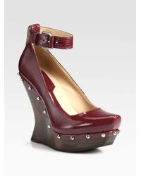 McQ | Red Patent Leather Studded Ankle Strap Wedges | Lyst