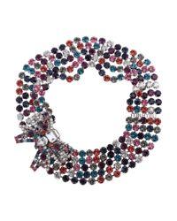Miu Miu | Metallic Crystal Bow Necklace | Lyst