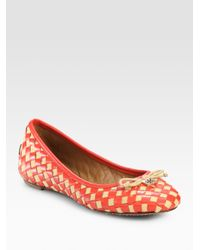 Tory Burch | Orange Prescot Woven Leather Bow Ballet Flats | Lyst