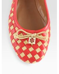 Tory Burch - Multicolor Prescot Woven Leather Bow Ballet Flats - Lyst