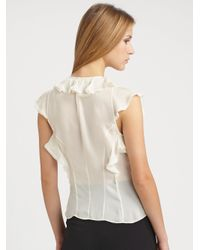 Z Spoke by Zac Posen | White Silk Chiffon Flutter Blouse | Lyst