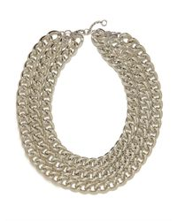 BaubleBar - Metallic Silver Triple Chain Necklace - Lyst