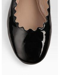 Chloé - Black Scalloped Patent Leather Ballet Flats - Lyst