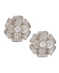 CZ by Kenneth Jay Lane | Gray Pave Cubic Zirconia Flower Clip Earrings | Lyst