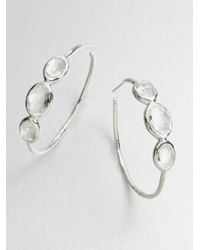Ippolita | Metallic Rock Candy Clear Quartz & Sterling Silver Three-Stone #3 Hoop Earrings/1.5 | Lyst