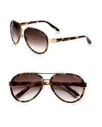 Jimmy Choo | Black Plastic Accented Metal Aviator Sunglasses | Lyst