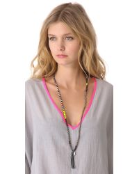 Chan Luu - Gray Beaded Necklace with Tassel - Lyst